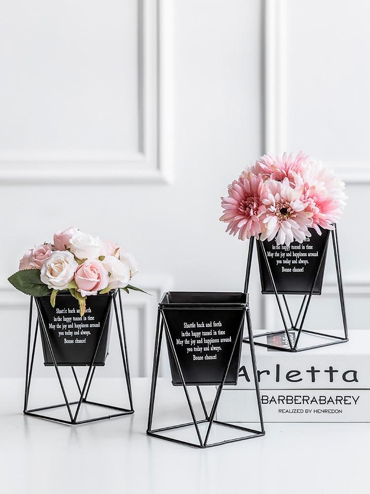 1Pcs Creative Iron Flower Plant Vase with Artificial Flower Desk Flower Plants Stand Holder Terrarium Container Planters Baskets