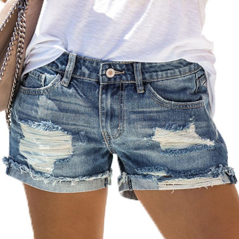 Vicabo Shorts Women Summer Fashion Holes Pockets Female Short Femininos Jeans Woman Shorts Denim