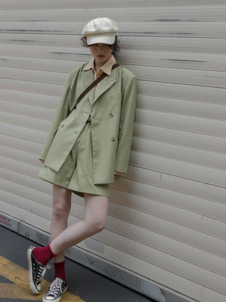 Suit Coat Two Piece Set Lined Printed Suit Set Women's Solid Color Suit Coat + High Waist Shorts Fas
