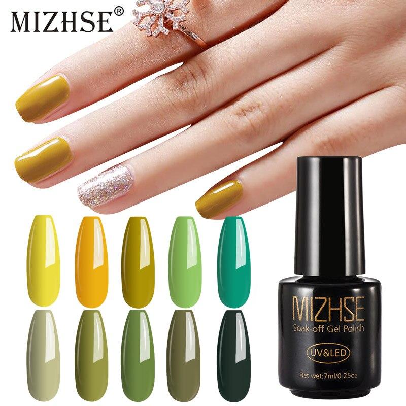 MIZHSE Gel Polish Soak Off White Yellow Green Series Long Lasting Paint UV LED Gel Lak for Manicure Polish Semi Permanent
