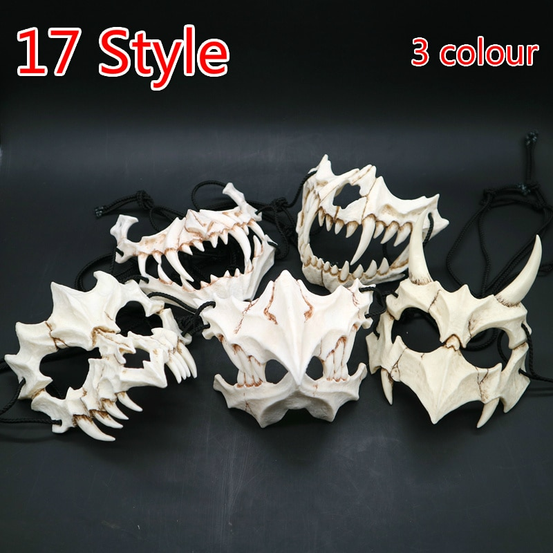17 estilo Dios dragón máscara de utilería para Cosplay Tengu Tigre máscara de resina para Halloween máscaras temáticas de animales