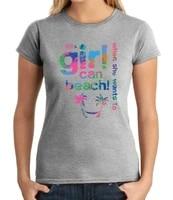 girl can beach juniors t shirt summer holiday fun vacation girls tee 1450c