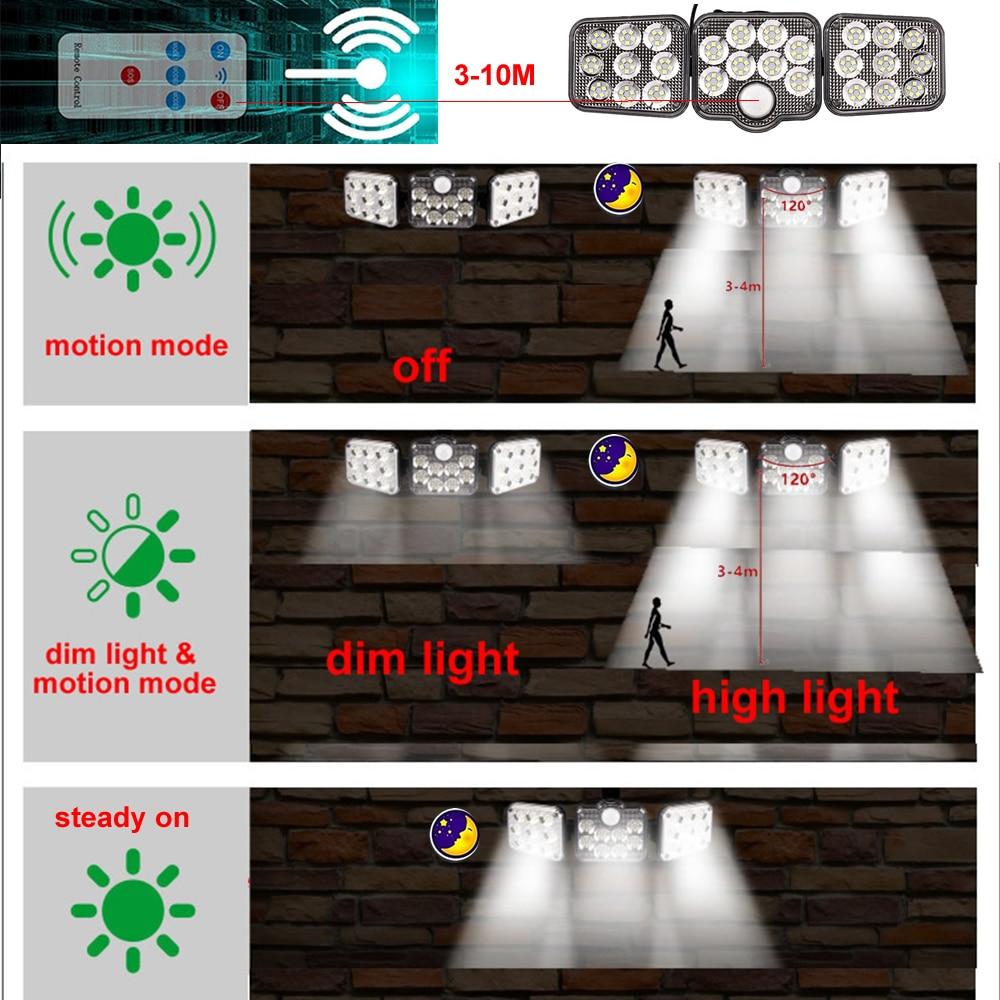 3pcs 138 led seperable remote Solar Light Outdoor Solar Lamp PIR Motion Sensor Powered Waterproof Wall Garden Yard Path Décor se enlarge