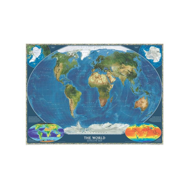 150x100 см Нетканый спрей, Карта мира, Карта мира, спутниковая карта мира без национального флага и карты температуры поверхности