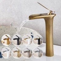 bathroom basin sink waterfall faucets hot and cold water tap deck mounted water mixer crane antique bronze chrome finished