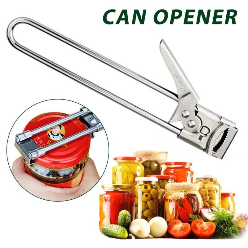 1pcs Adjustable Jar Openers Multifunctional Stainless Steel Lids Off Jar Opener Bottle Can Opener Kitchen Gadgets Bar Tool