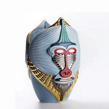 Modern MONKEY VASE Sculpture Decorative Article Ape Head Mask Statue Flower Home Decor QIN013