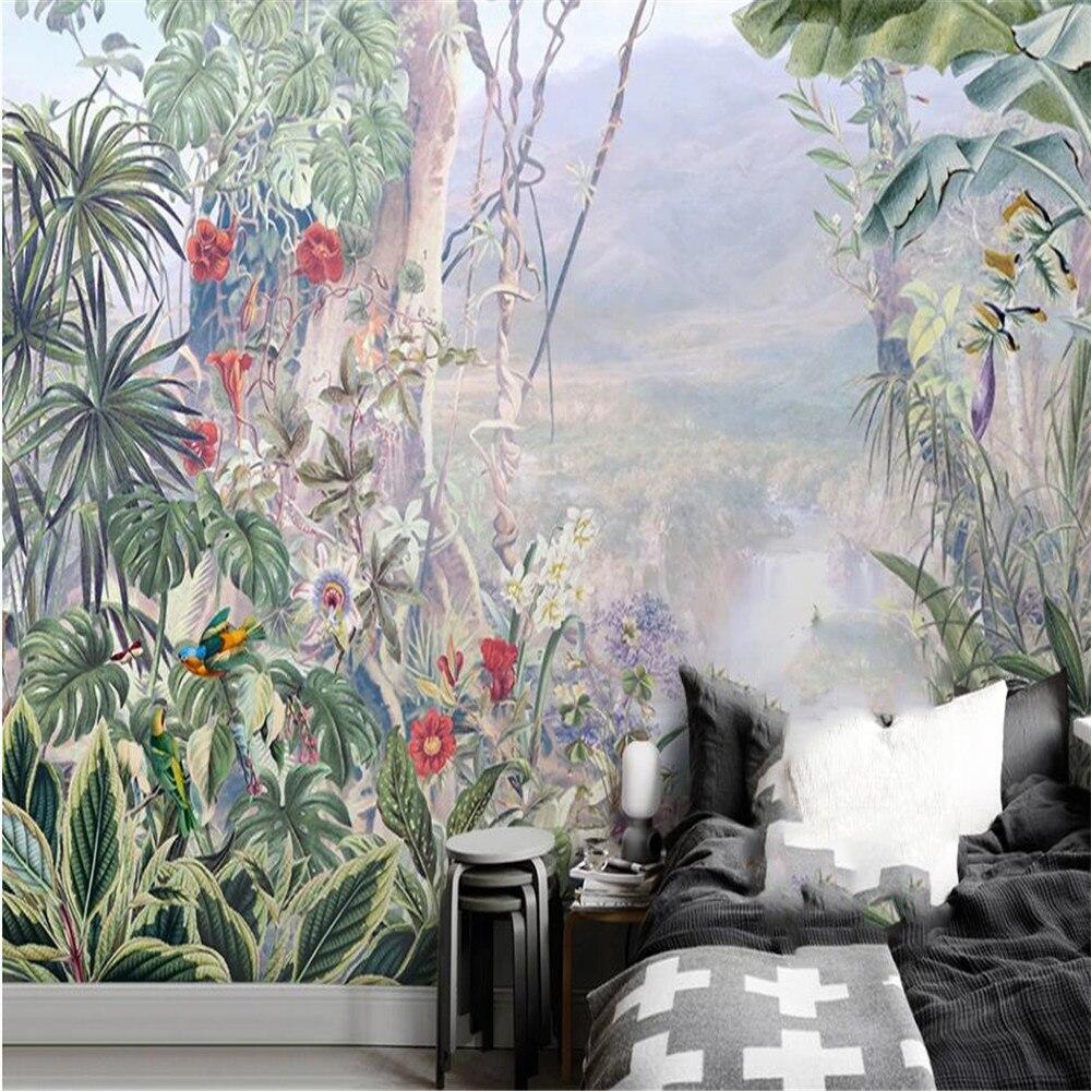 Milofi de 3D papel pintado mural Jardín Europeo pintado a mano bosque tropical de pared habitación dormitorio Decoración