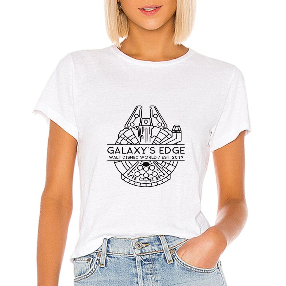 Camiseta para mujer de Galaxy Edge Walt, camiseta del mundo de Disney, camiseta mandaloriana, camiseta bonita de Harajuku para mujer, camisetas de primavera-verano