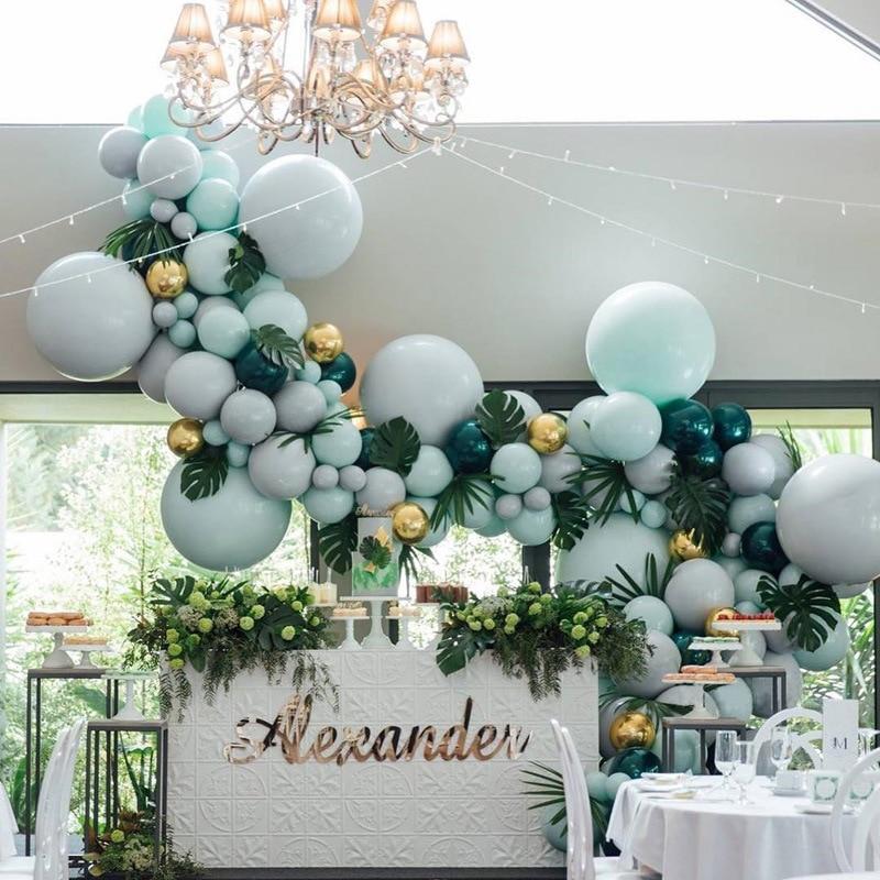 Set de 192 Uds. De arco de globos color Macaron Pastel de látex, globos de guirnaldas verde oscuro, decoración de globos, Decoración de cumpleaños, boda, fiesta