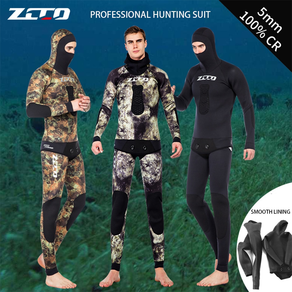 Brand New ZCCO 5MM Men's Neoprene Wetsuit Scuba Diving Warm Camouflage Hunting And Fishing Split Diving Snorkeling Wetsuit