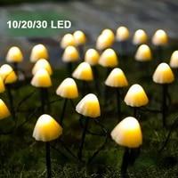 102030led solar string light outdoor waterproof mushroom fairy lights garden night lights patio lawn string lights decorations