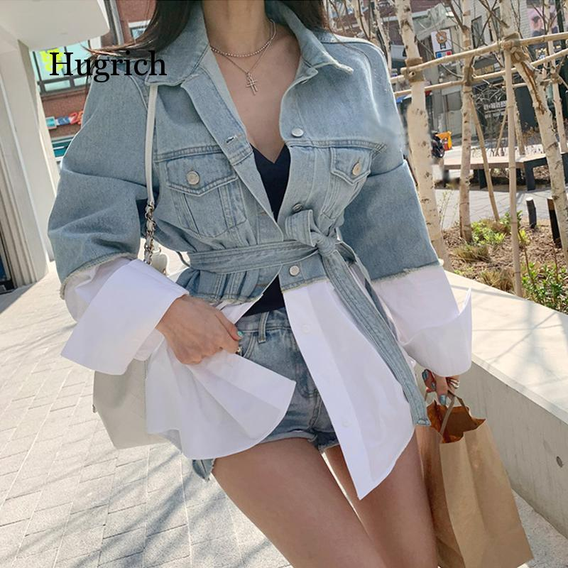 Демисезонные женские джинсовые куртки 2021, верхняя одежда в стиле пэчворк с поясом и шнуровкой, модные джинсы в стиле High Street