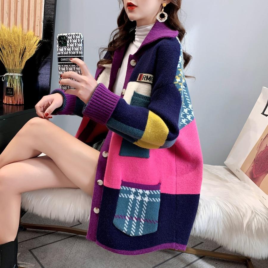 SYJ Autumn Winter Women Long Cardigan 2021 Contrast Print Pocket Button Oversize Sweater Cardigan Female Street Jacket Coat enlarge