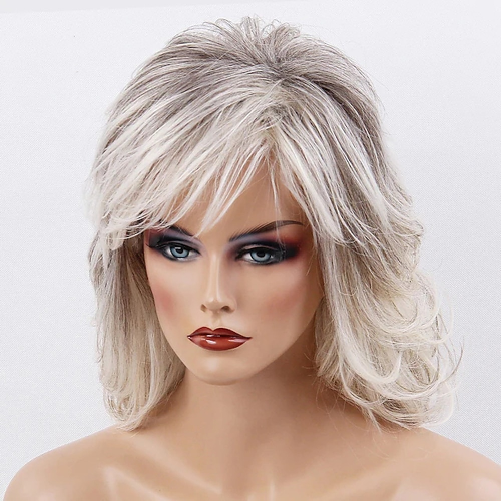 50% Human Hair 50% synthetic hair costume Wig Medium Length Wavy Ombre Hair Side Part Machine Made Women's Black / Grey wigs