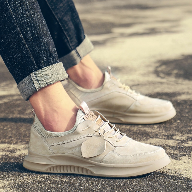 Quality Men Sneakers for Men Casual Shoes Breathable Lace up Flats Spring Natural Leather Lightweight Outdoor Shoes Men Zapatos breathable outdoor shoes men breathable lace up casual shoes flats quality comfortable men shoes zapatos hombre
