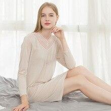 محبوك الحرير الدانتيل gecelik ملابس خاصة النوم فستان سهرة فضفاض حجم كبير كم طويل قميص المرأة ثوب النوم ثوب النوم pijamas