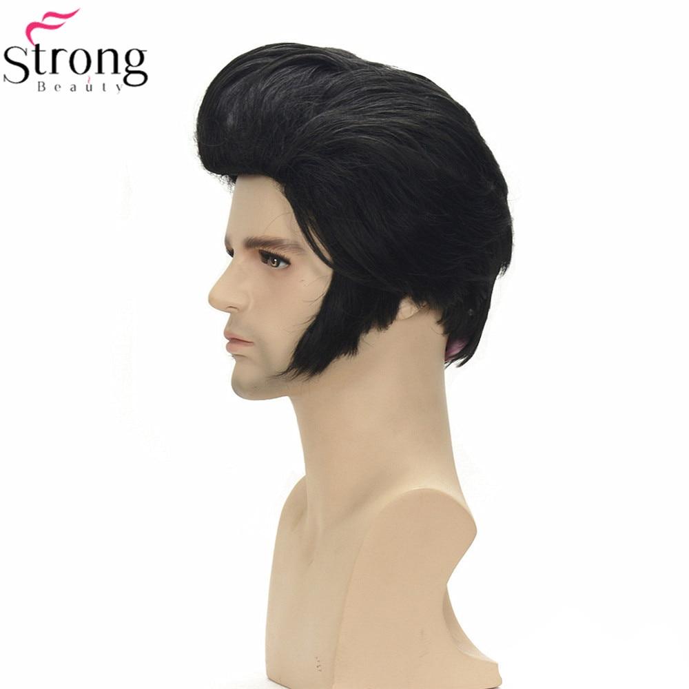 StrongBeauty Elvis Presley Wig Cosplay Man Synthetic Wig Black Short Hair