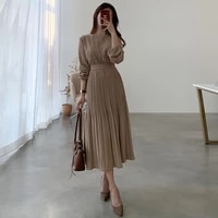 korean one piece fashion ladies dress 2021 spring fall womens round neck long sleeve pullover pleated pure color casual dresses
