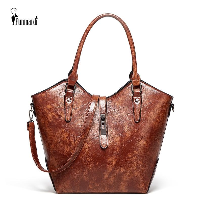 FUNMARDI Fashion Bags For Women 2021 New Handbags Oil Leather Female Shoulder Bags Luxury High Capacity Tote Bag Ladies WLHB2235