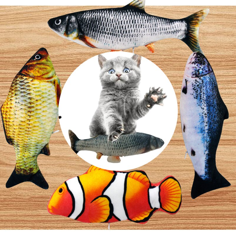 Interactive Hotsale 28CM Cat Toy Fish USB Electric Charging Simulation Dancing Jumping Moving Floppy Fish Cat Toy For Cats Toys