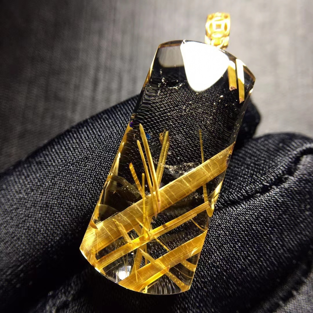 Natural Gold Rutilated Quartz Rectangle Pendant Gemstone Brazil 31.6*14*7.6mm Wealthy Women Men Jewelry Genuine AAAAAA