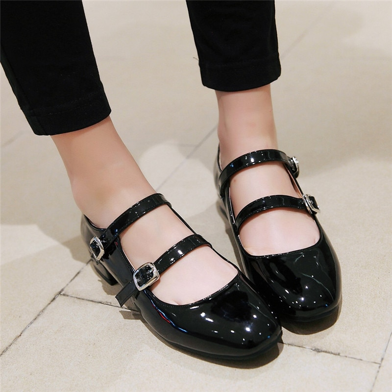 Zapatos planos para mujer de AGODOR Mary Jane, zapatos planos de charol de cuero para niñas, bailarinas para escuela, negro, plateado, rojo, de talla grande