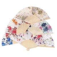 1pcs chinese japanese style silk fan folding fan wedding art gifts dance hand fan vintage bamboo folding hand held flower fans