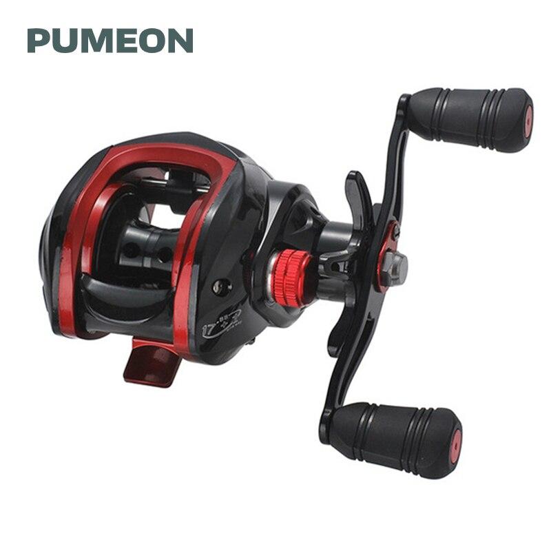 Pumeon carretel de pesca engrenagem relação 7.21 max arraste 8kg 17 + 1 rolamentos sistema freio magnético esquerda/mão direita rodas de pesca da carpa