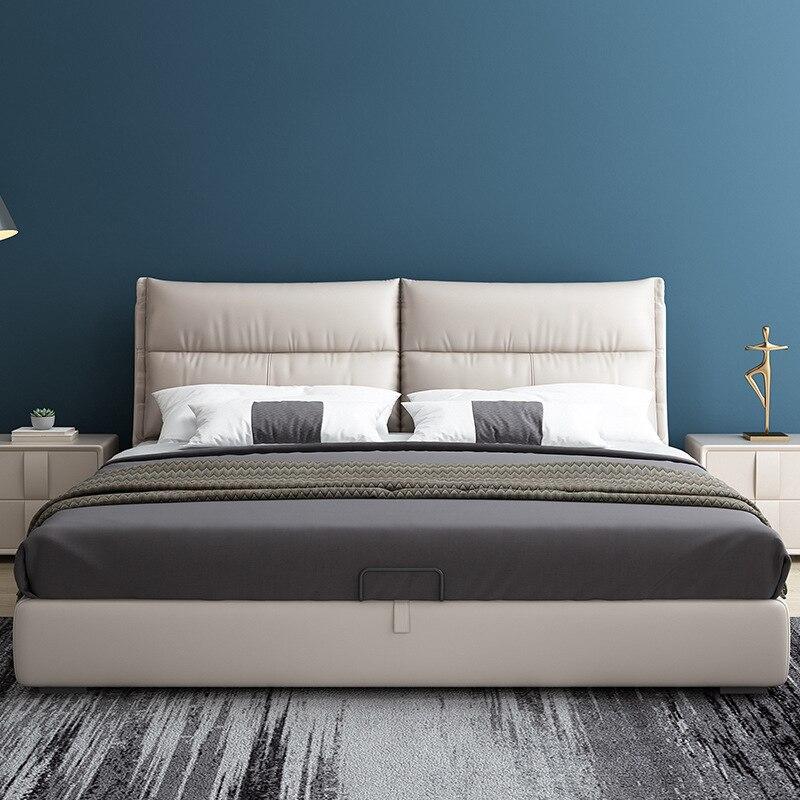 Cama de cuero minimalista moderna para apartamento pequeño, dormitorio principal, cama doble...