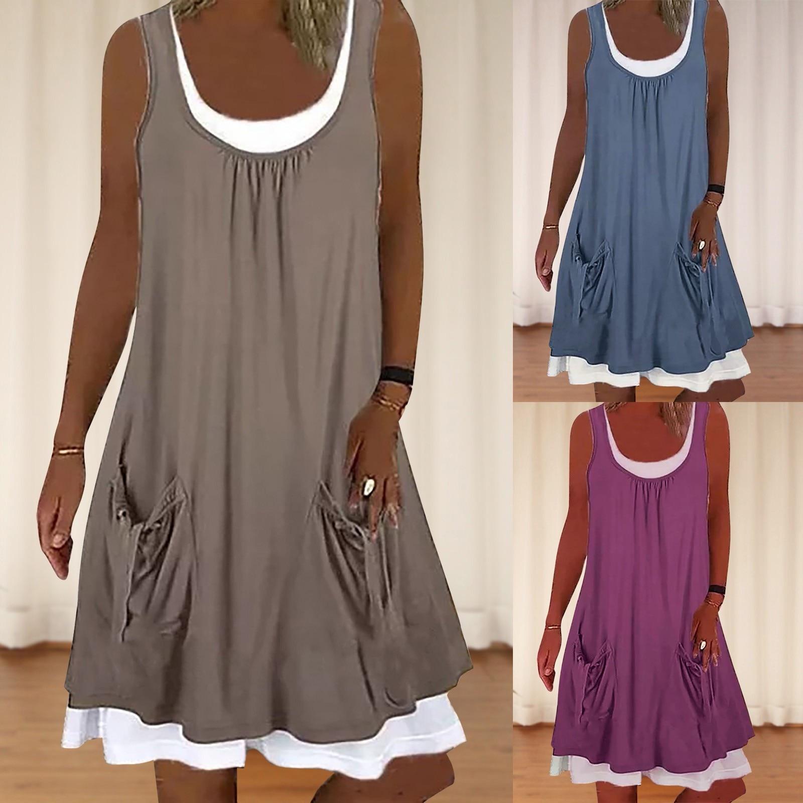 dresses for women 2021 Casual Round Neckline Knee-Length Shift Dress Two-piece Pocket Suit lilly pulitzer women s estrada shift dress