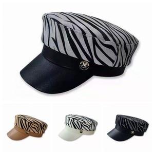 New Autumn Octagonal Hat for Women Cow Print Beret Female Winter Hats for Women Fitting Women's cap