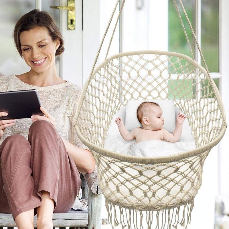 داخلي وخارجي القطن حبل أرجوحة معلقة كرسي أرجوحة ، مهد طفل ، سرير ، كرسي متأرجح ، ومناسبة للأطفال الرضع من 0-6 أشهر