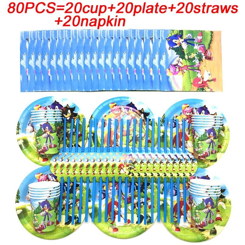 Sonic The Hedgehog doğum günü plakaları kupası payet peçeteler tek kullanımlık sofra Sonic The Hedgehog tema parti malzemeleri süslemeleri