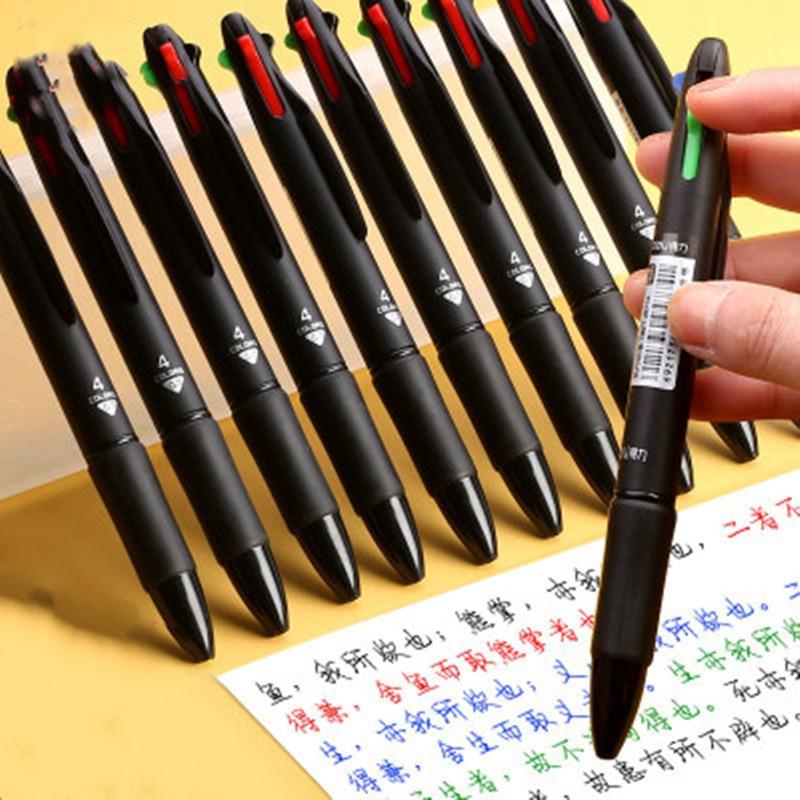 Черная шариковая ручка, 1 шт., цветная ручка 0,7 мм, красные, зеленые, синие стержни, канцелярские принадлежности, школьная канцелярия, Офисная ...