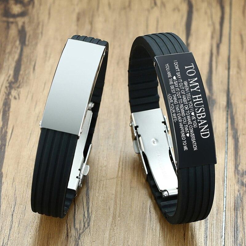Pulsera de goma personalizada marca de silicona, etiquetas personalizadas, identificación ajustable de acero inoxidable para mujeres y hombres
