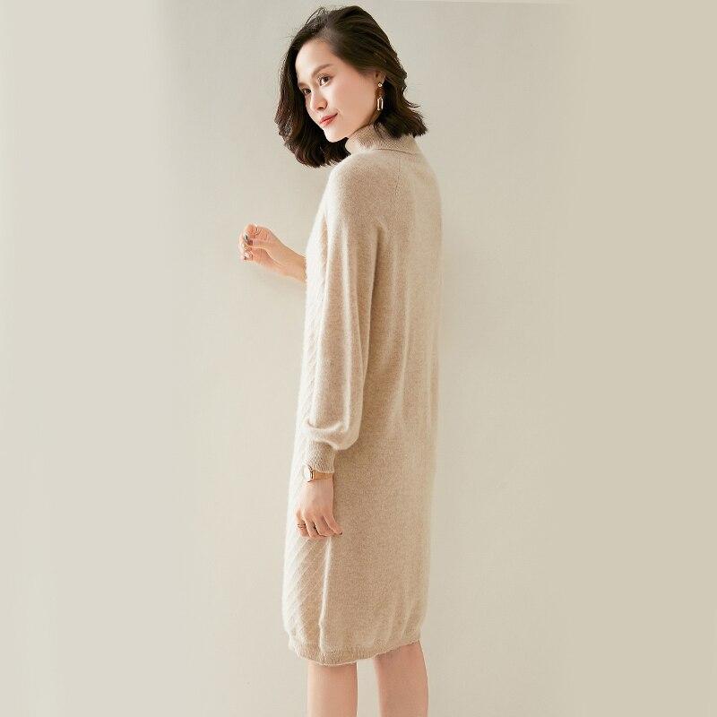 adishree mulher inverno 100 cashmere blusas outono malha pullovers vestidos de alta