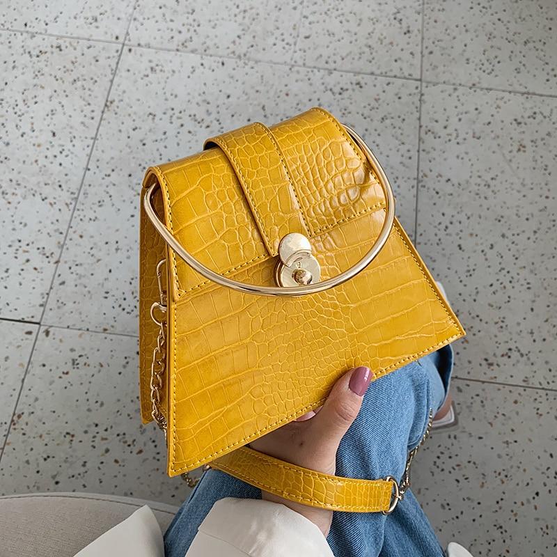 Moda feminina bolsas de metal lidar com totes padrão de pedra couro do plutônio crossbody sacos para mulheres ombro saco do mensageiro