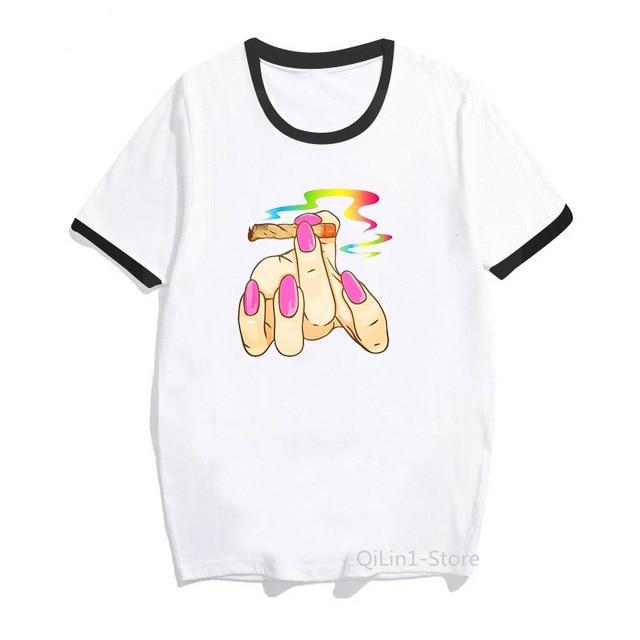 Rainbow pink nail polish smoking print t shirt women clothes 2020 vogue Lgbt Gay Love Lesbian tshirt femme sexy female t-shirt