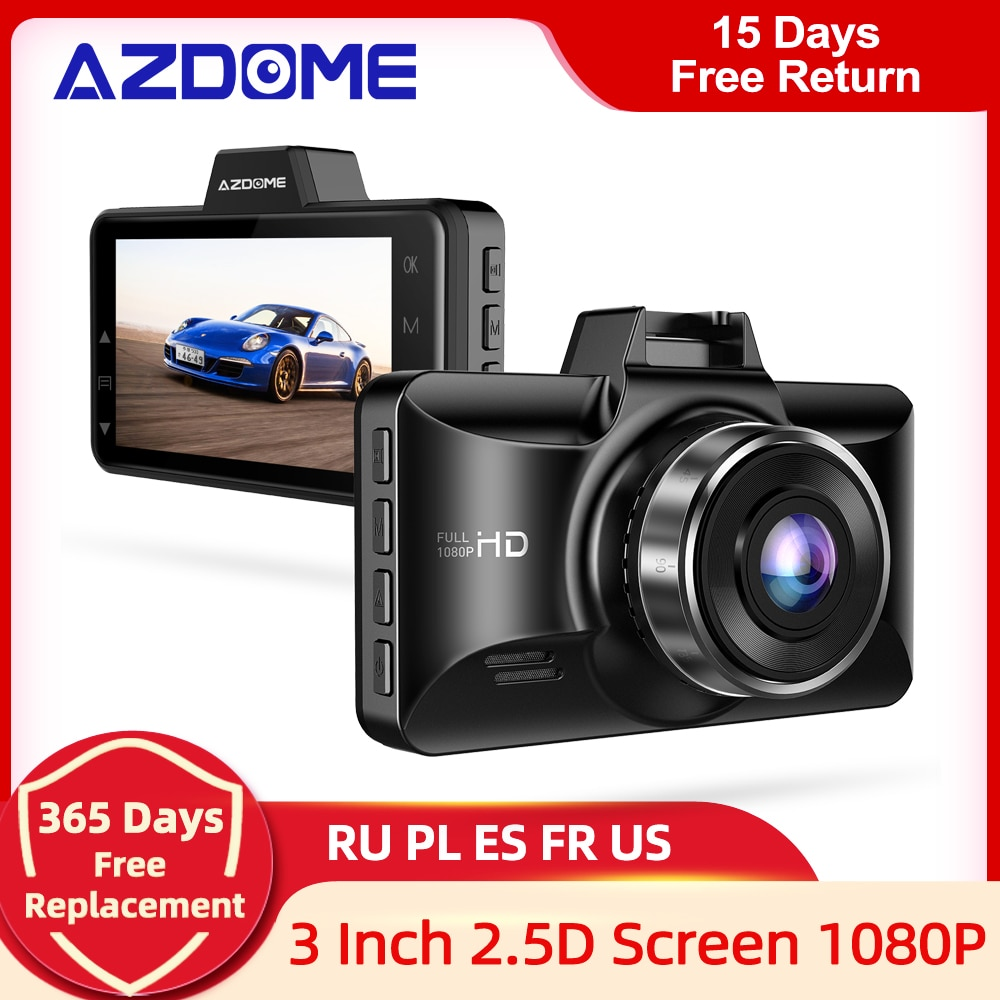 AZDOME M01 Pro FHD 1080P Dash Cam 3 Inch DVR Car Driving Recorder Night Vision, Park Monitor, G-Sensor, Loop Recording for Uber
