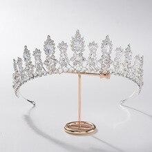 Baroque luxe cristal feuille mariée diadèmes CZ couronnes strass diadème reconstitution historique bal couronne mariée bandeau mariage cheveux accessoires