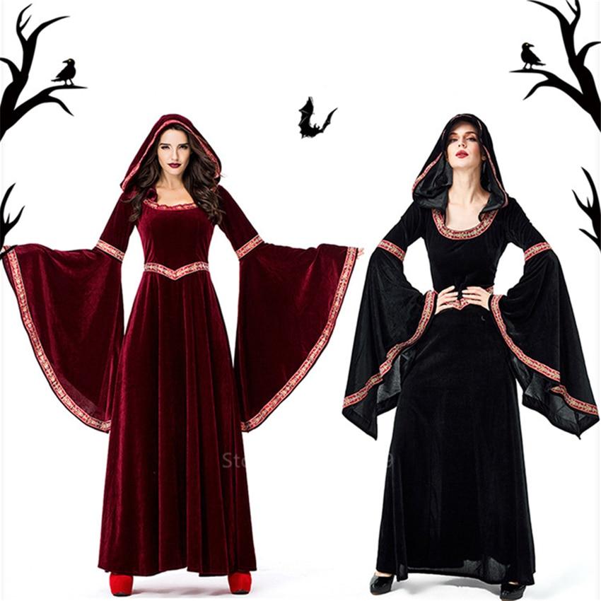 Средневековый маскарадный костюм ведьмы для женщин на Хэллоуин, карнавальные вечерние костюмы вампира, винтажная Маскировочная одежда с капюшоном