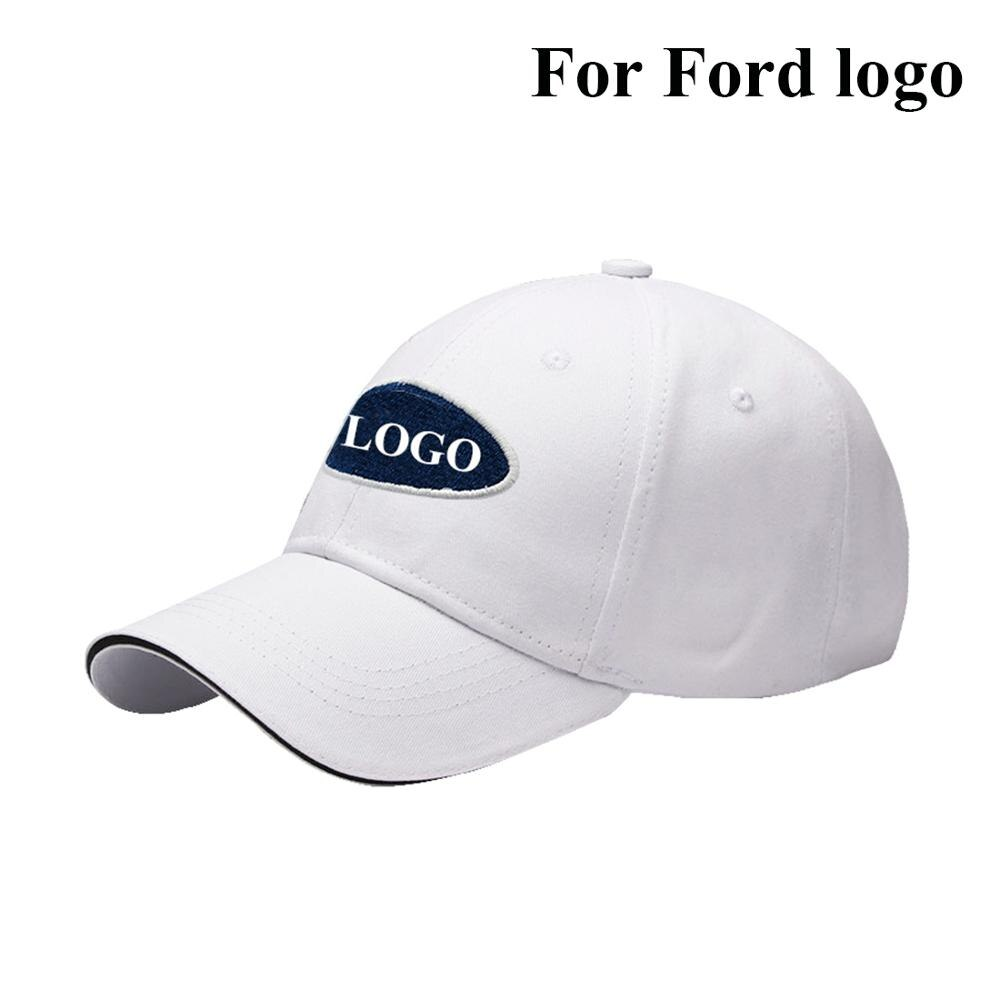 Men Women Fashion Adjustable Baseball Cap Car Logo Outdoor Sports Hat Embroidery Cotton Hat Hip Hop Cap Sunhat White For Ford