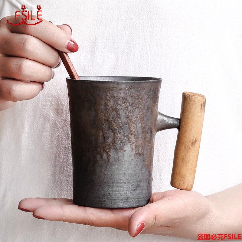 النمط الياباني خمر قدح قهوة من السيراميك بهلوان الصدأ الصقيل كوب حليب الشاي مع مقبض خشبي
