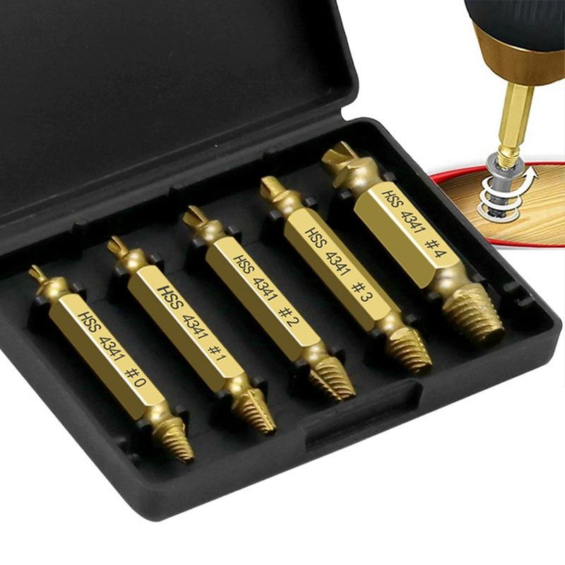 5 uds 1 caja removedor de tornillo destornillador dañado Set tornillo removedor perno roto tornillo desbarbador tornillo removedor herramienta set