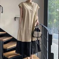 minimalist retro ruffle dress women summer 2021 round neck loose contrast color patchwork pleated sleeveless mid calf dresses