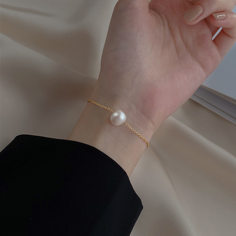 925 Sterling Silver Single Pearl Bracelet Female French High Grade Sense Internet-Famous and Vintage