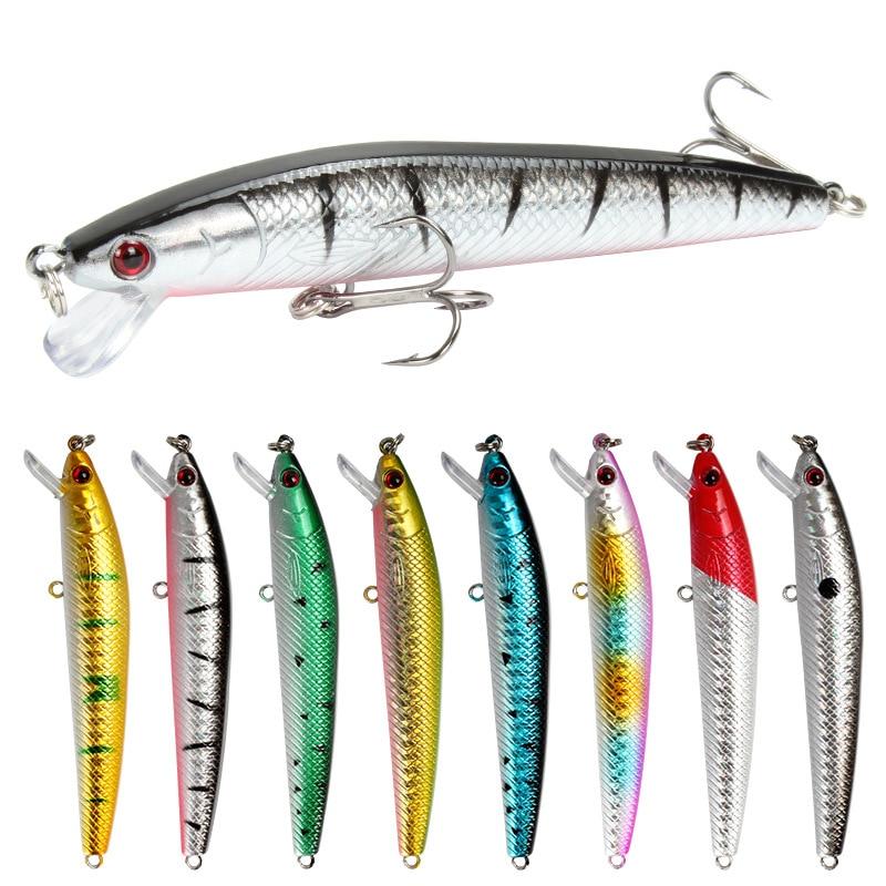 8 шт./лот, плавающая блесна, рыболовная приманка 10 см, 8,7 г, искусственная пластиковая жесткая приманка, 3D глаза, басы, воблеры, карп, рыболовны...