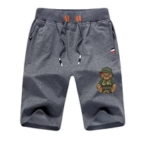 mens shorts drawstring shorts fitness casual all match print bear solid color sports jogging male five point pants plus size
