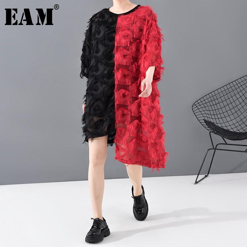 [EAM] Women Black Red Asymmetrical Tassels Big Size Dress New Round Neck Three-quarter Sleeve Fashion Spring Autumn 2020 1T807